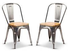 Pair of 2 Steel With Oak Seat Industrial Tolix Style Dining Chairs 1/2 Price Deal